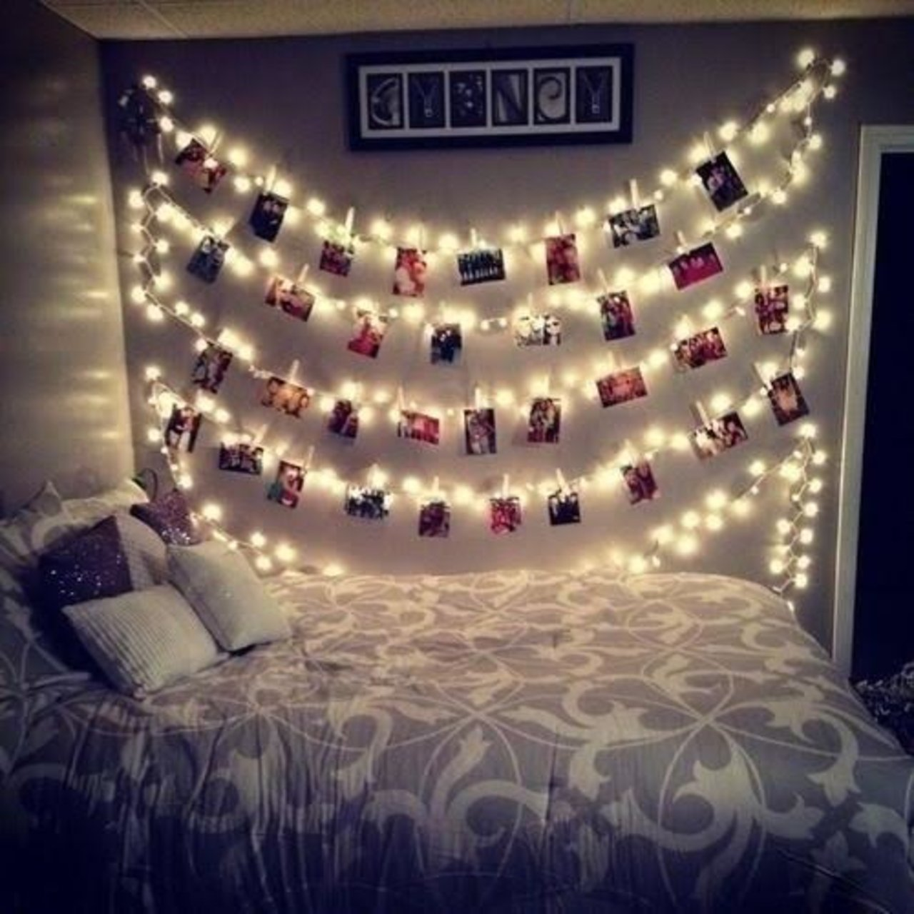 photo display with string lights