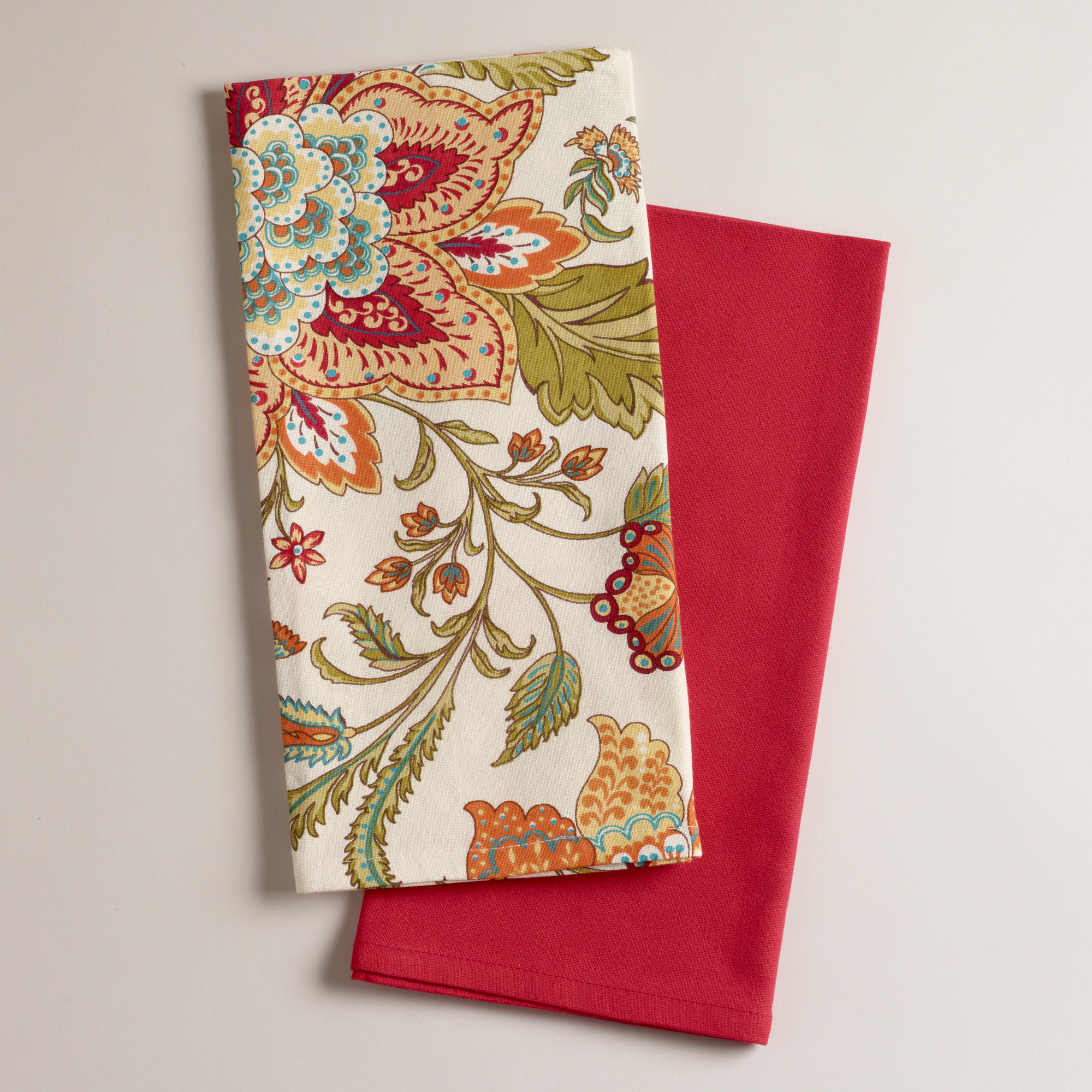 Beau Kavita Floral Kitchen Towels, Set Of 2