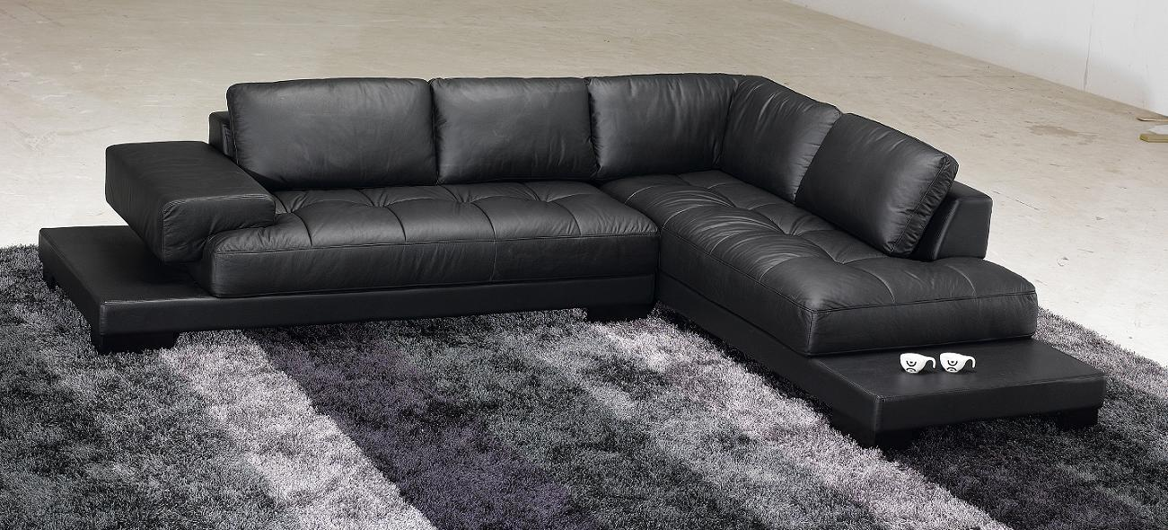 Modern Black Full Leather Sectional Sofa - RSF - Online Interior ...