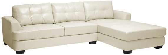 Contemporary Dobson 2 Piece Cream Bonded Leather Modern Sectional Sofa