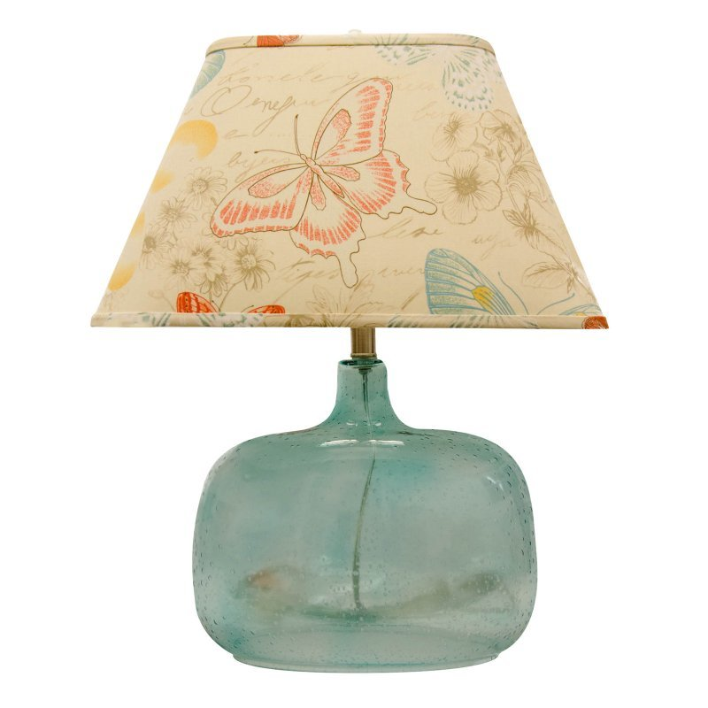 A Homestead Shoppe Spa Glass Table Lamp   Butterfly Shade