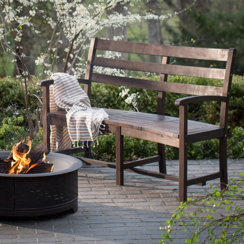 Coral Coast Cabos Curved Back Fire Pit Bench Java Brown Online Interior Design Nousdecor