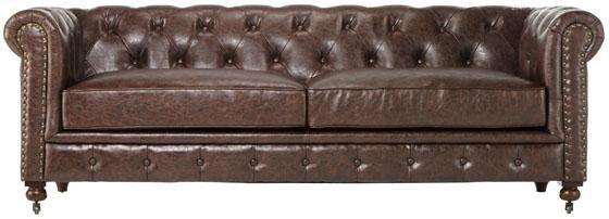 Delightful Gordon Tufted Leather Leather Sofa   32Hx91x38d, Brown Leather Sofa