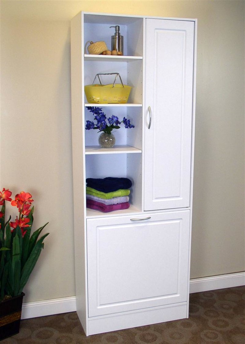 Popular Linen Cabinet w Laundry Hamper - Online Interior Design - NousDecor ZL48