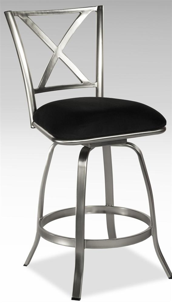 Stainless Steel X Back Swivel Counter Stool With