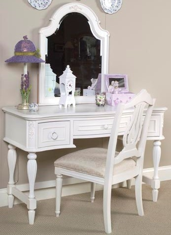 Reflections vanity table mirror set in antique off white for Vanity desk no mirror