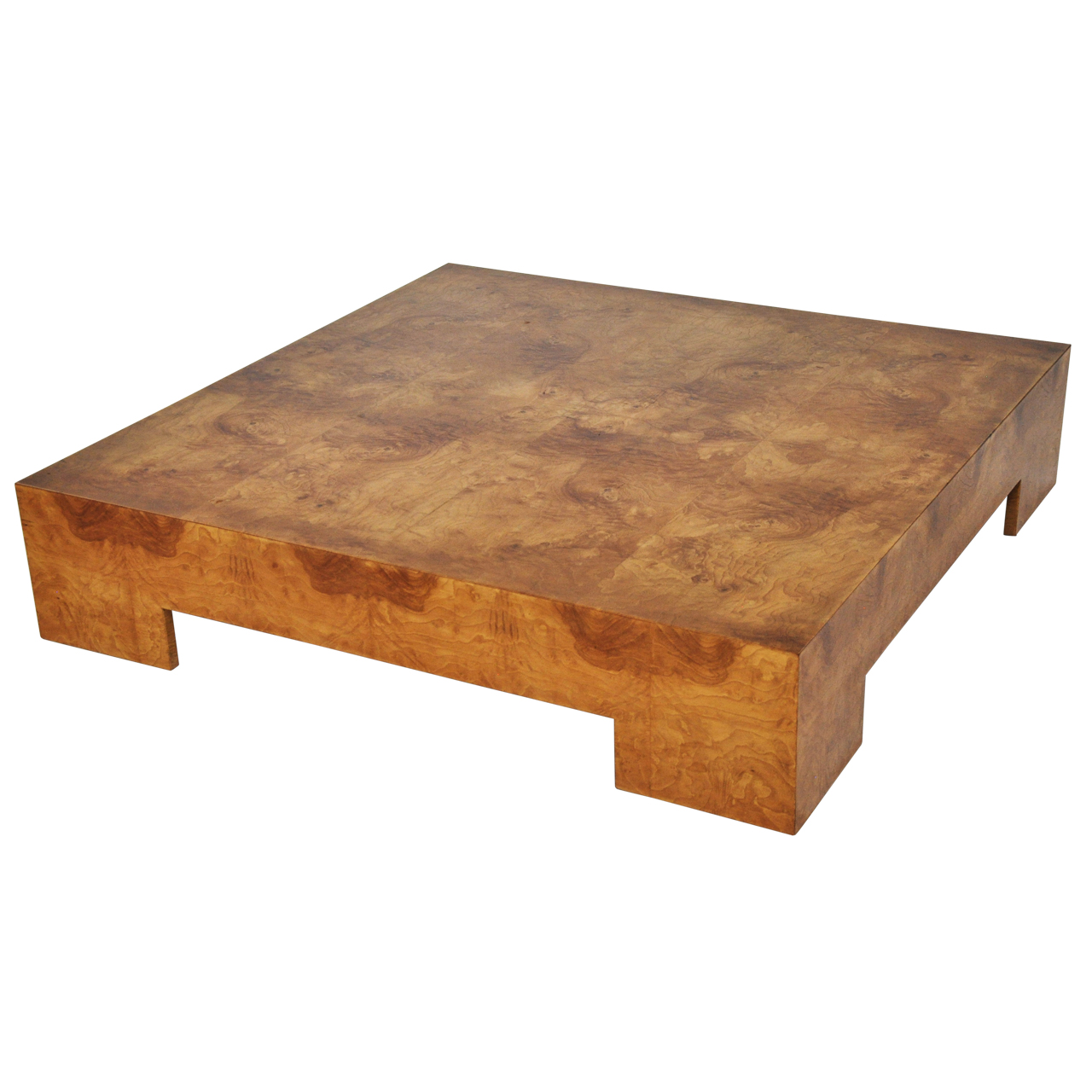 Milo baughman low burl wood coffee table