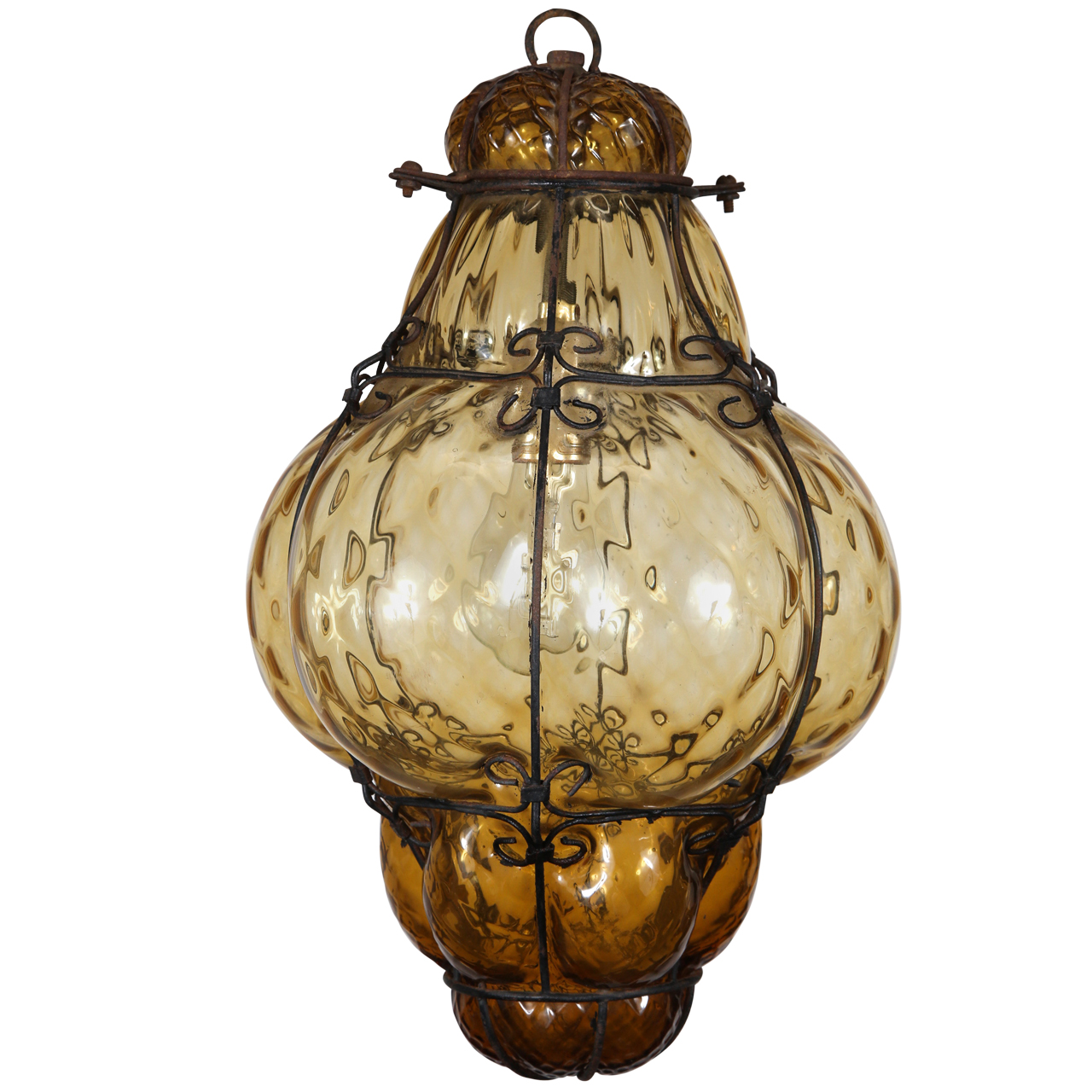 Vintage Hand Blown Seguso Murano Amber Glass Cage Pendant Light on Key West Style Furniture