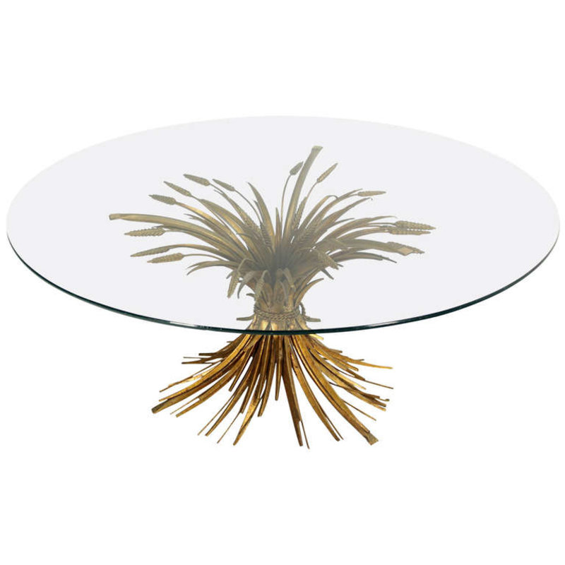 Brass Wheat Sheaf Round Glass Top Coffee Table Mid Century Modern