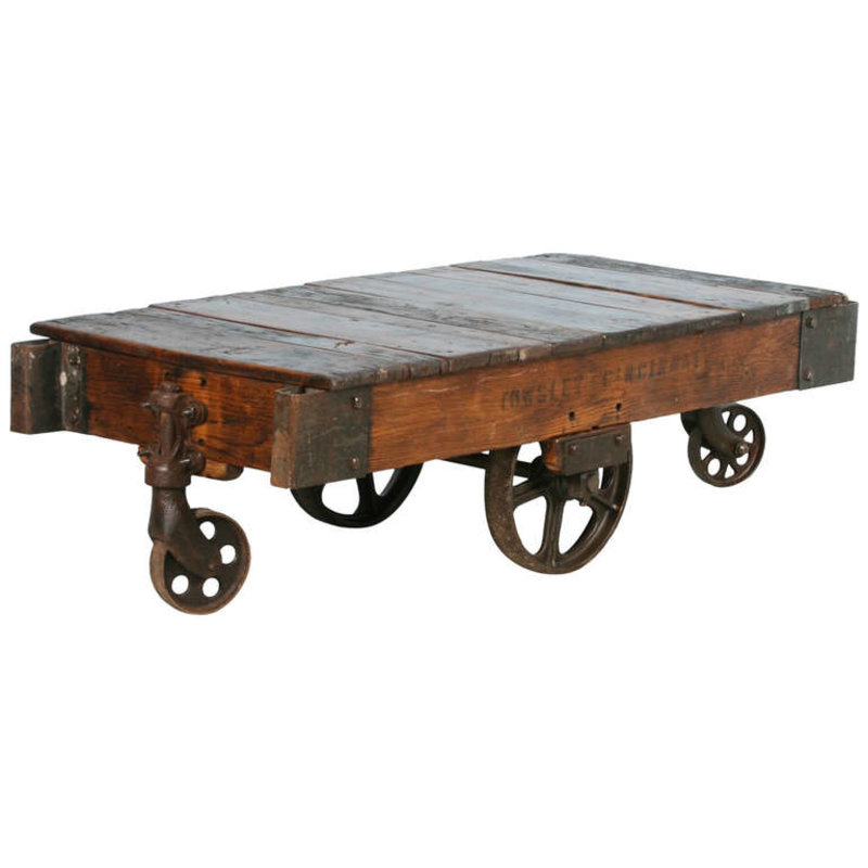 Antique Vintage Luggage Cart Coffee Table Circa 1920 With Cast Iron Wheels