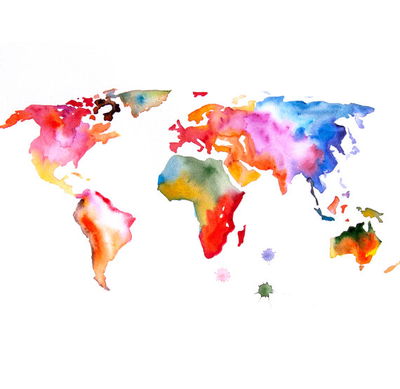 Original watercolor painting world map 13x19 abstract modern cool original watercolor painting world map 13x19 abstract modern cool wall art home decor contemporary illustration gumiabroncs Choice Image