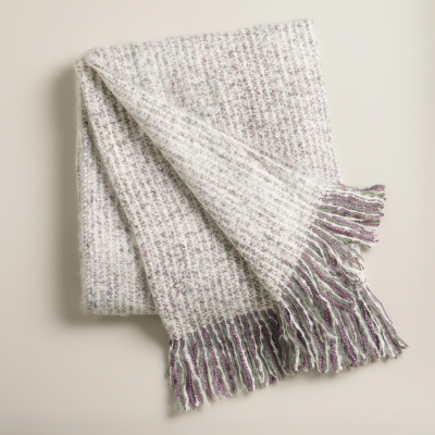 Dusty Purple Lofty Faux Mohair Throw