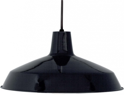 """Nuvo Lighting SF76/284 Black  Single Light 16"""" Pendant with Warehouse Shade in Black Finish"""