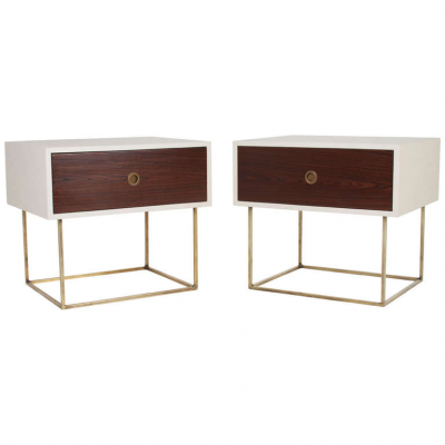 Quadrar Leather & Brass Side Table or Night Stand by Thomas Hayes Studio