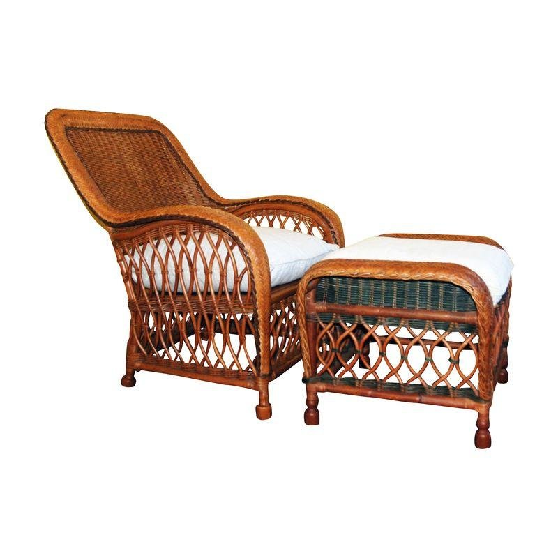 Pre Owned Palecek Wicker Chair And Ottoman