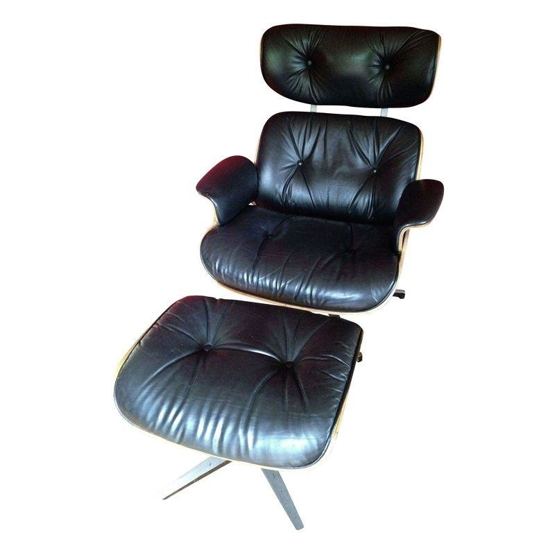 Pre Owned Plycraft Black Leather Chair Designed By Lou App