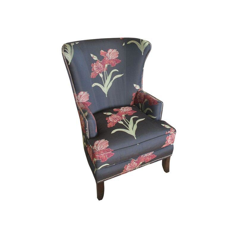 Pre Owned Fairfield Company Black Floral Wing Chair