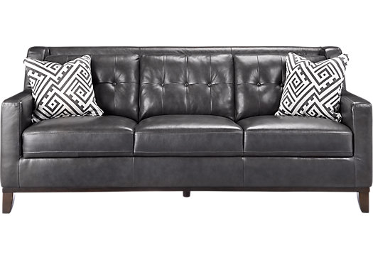 Rooms To Go Reina Gray Leather Sofa