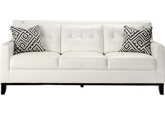 Rooms To Go Reina White Leather Sofa