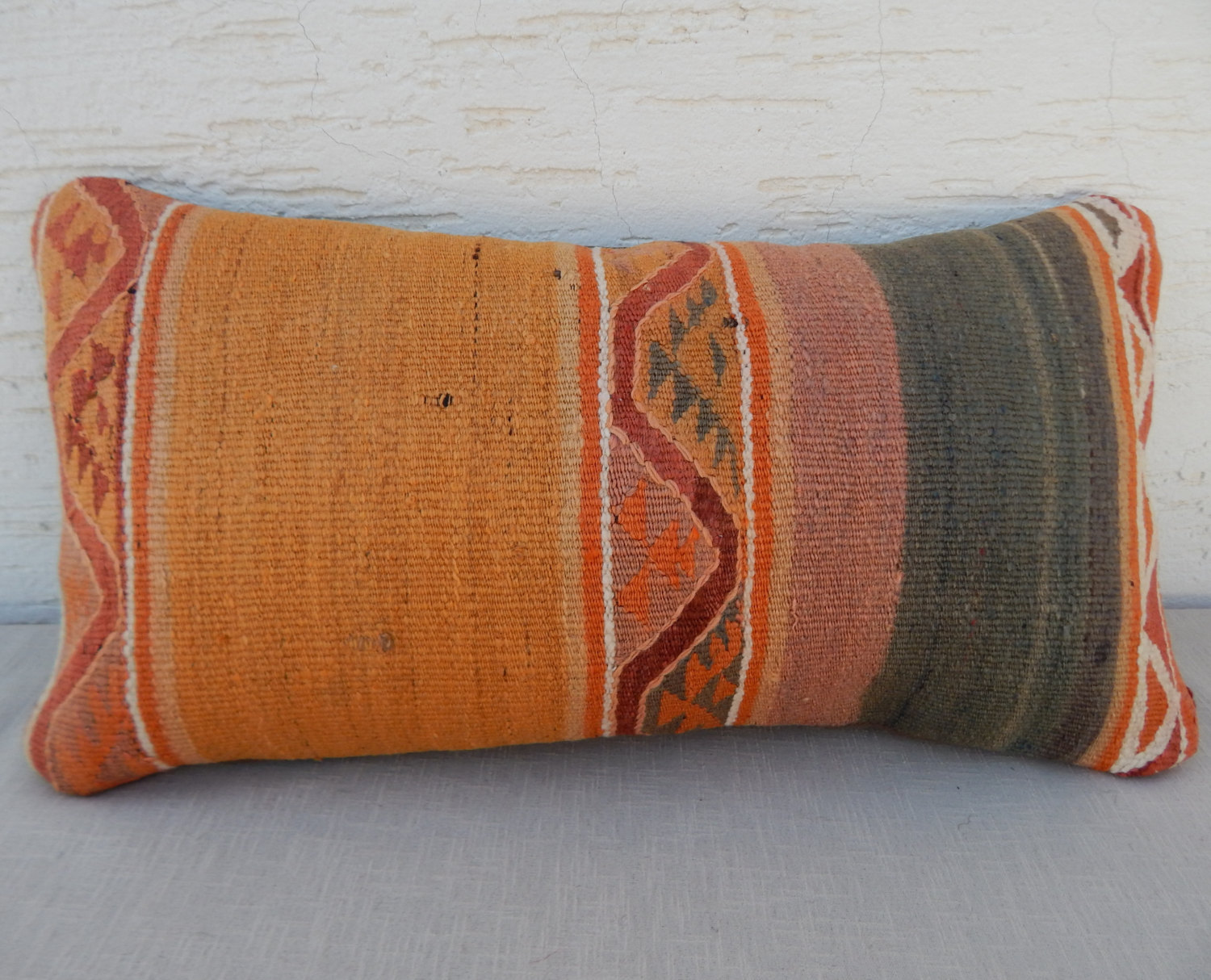 Decorative Bolster Pillow Covers : ORANGE Decor 10x20 inch Mini Country Decor Decorative Kilim Pillow Cover-Mini Kilim Lumbar ...