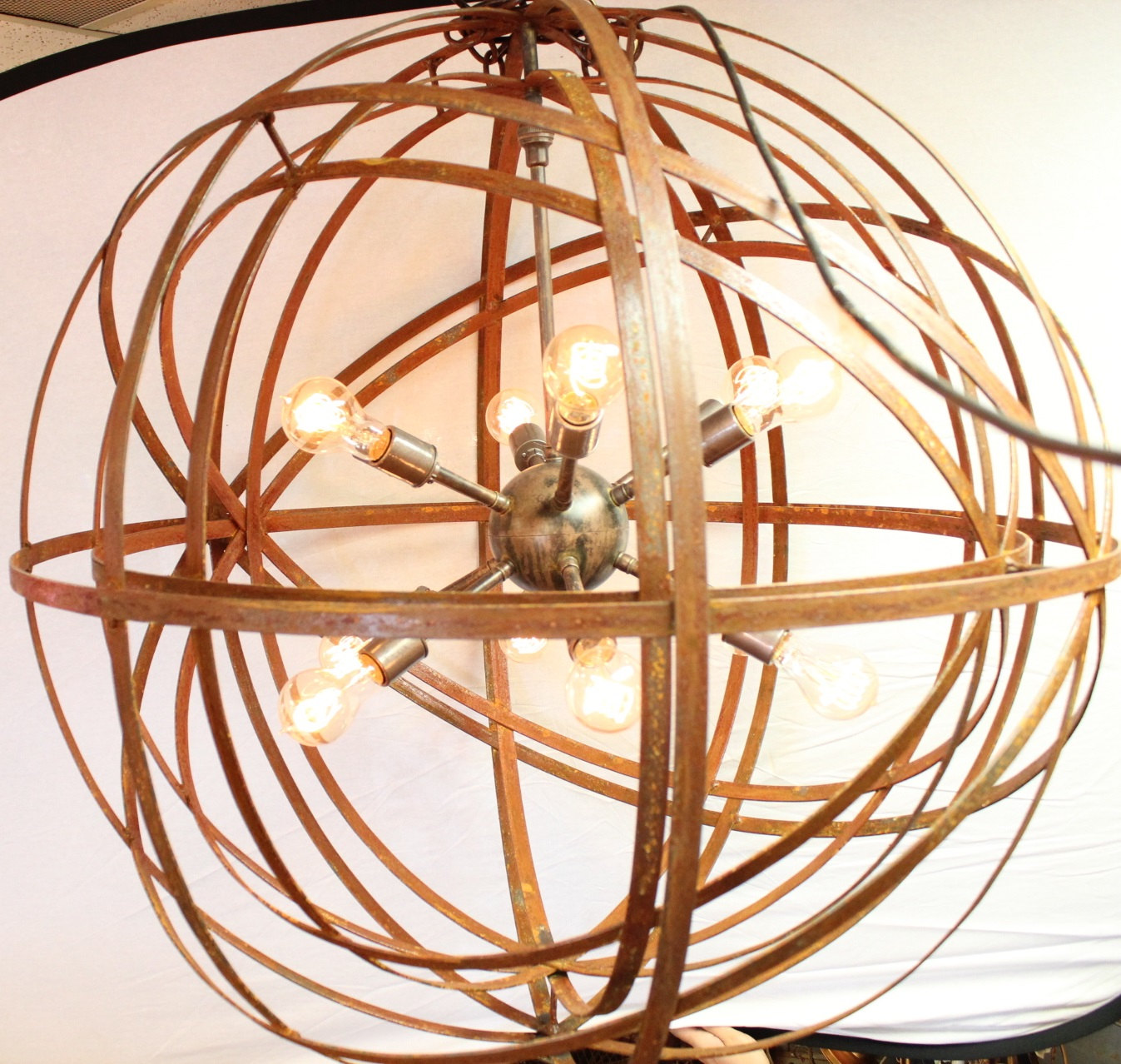 Orb chandelier industrial sphere inside sphere sputnik 30 metal orb chandelier industrial sphere inside sphere sputnik 30 metal strap globe hanging with 12 light sockets mozeypictures Image collections
