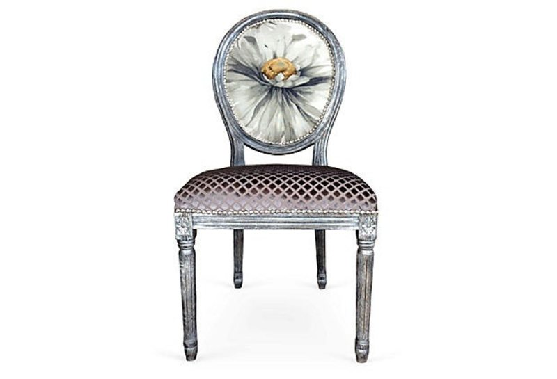 Silver Accent Side Chair French Louis XVI Bergere Eclectic Boho Chic  Bohemian Whimsical Dining Chairs Upholstered