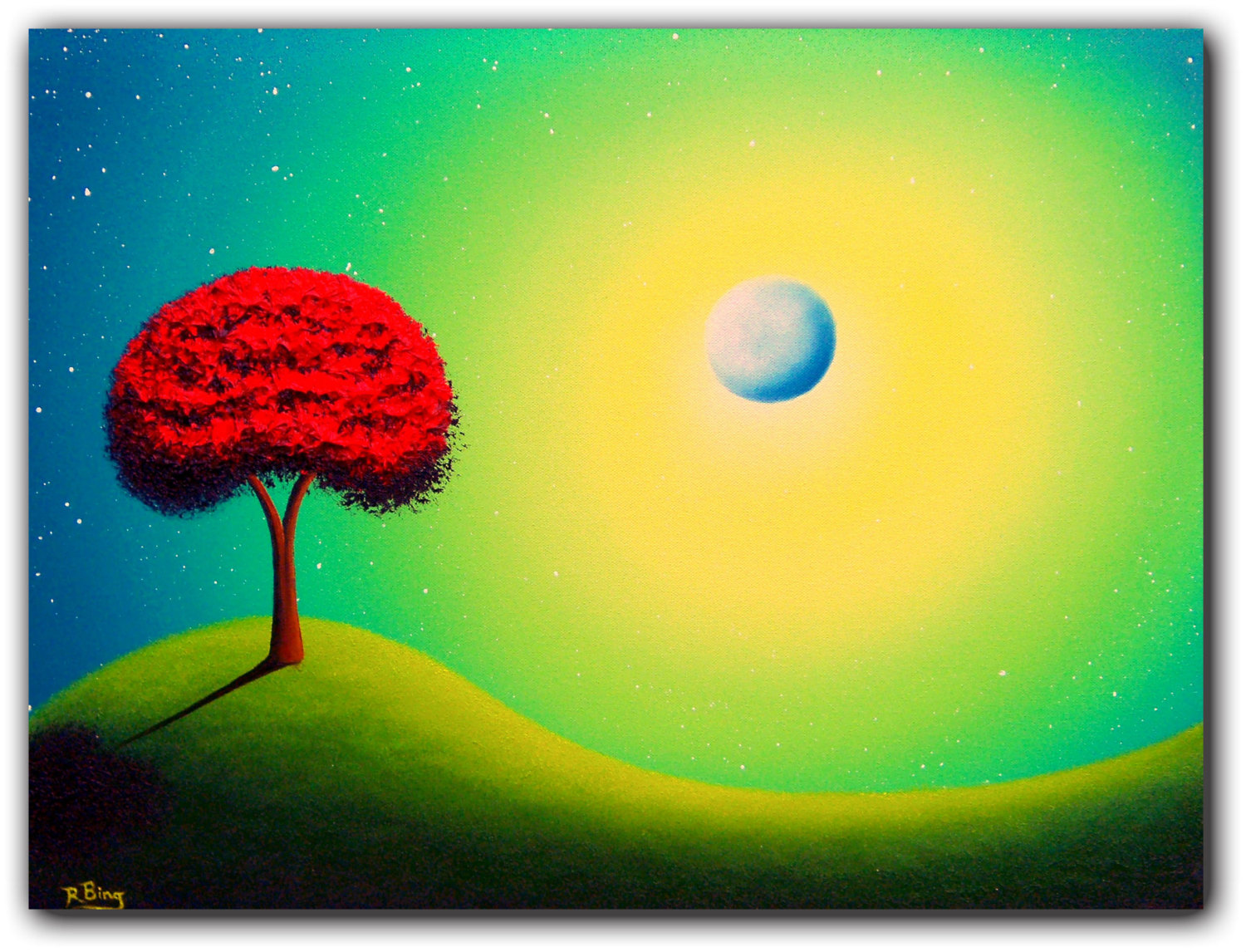 Original Surreal Painting, Contemporary Art Green Nightscape, Red ...
