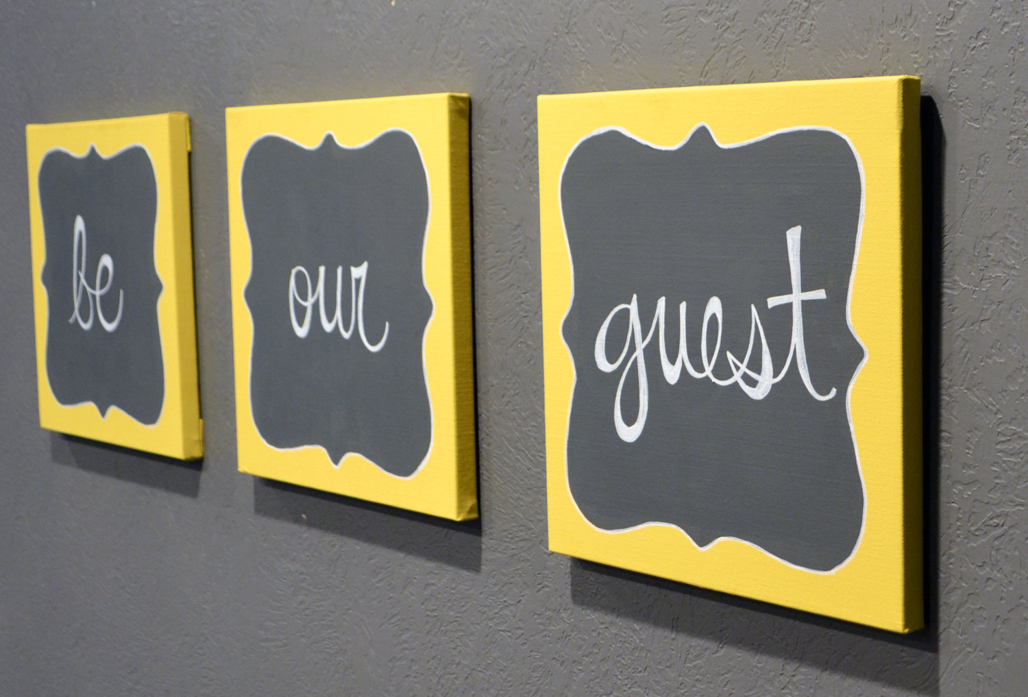 Be Our Guest Canvas Painting Set Guest Room Wall Art Wall Hanging Canvas  Sign Gray U0026