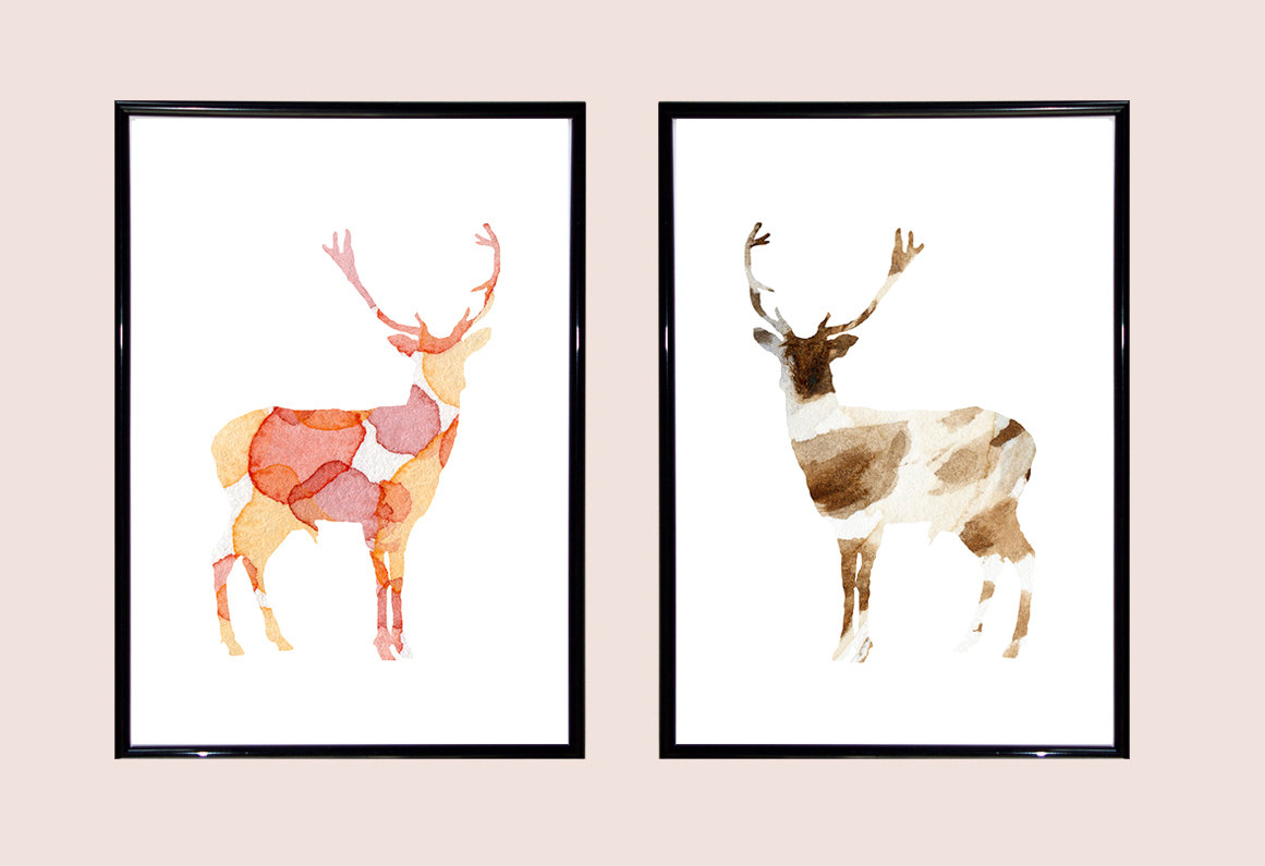 Deer watercolor illustrations set of 2 art prints home for Interior designs red deer