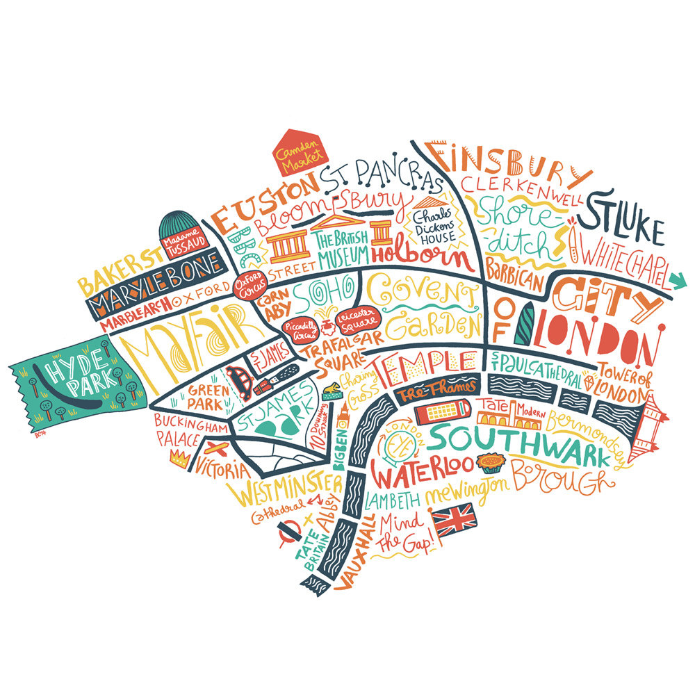 Map of London print illustration hand lettering Buckingham