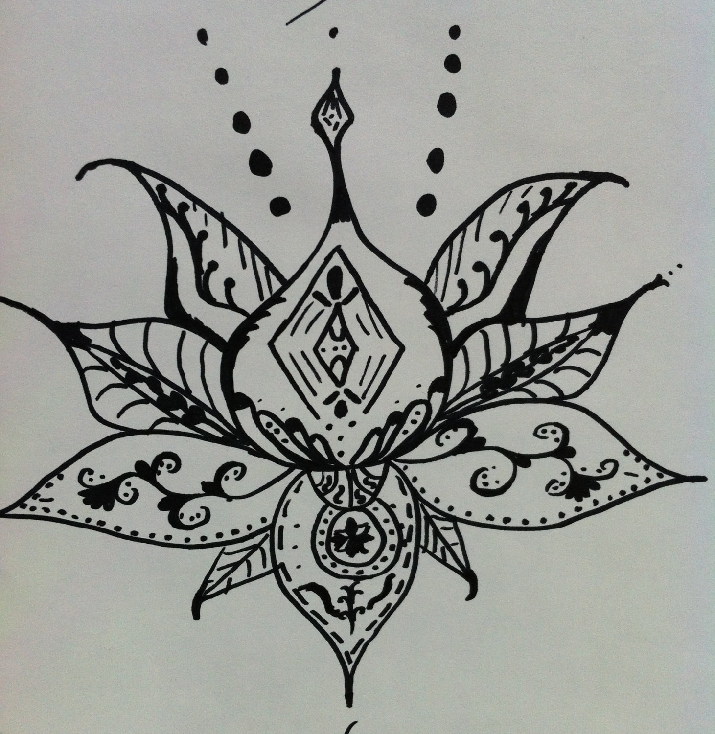 Lotus flower art henna style lotus flower drawing 12x9 handmade lotus flower art henna style lotus flower drawing 12x9 handmade original zentangle izmirmasajfo Image collections