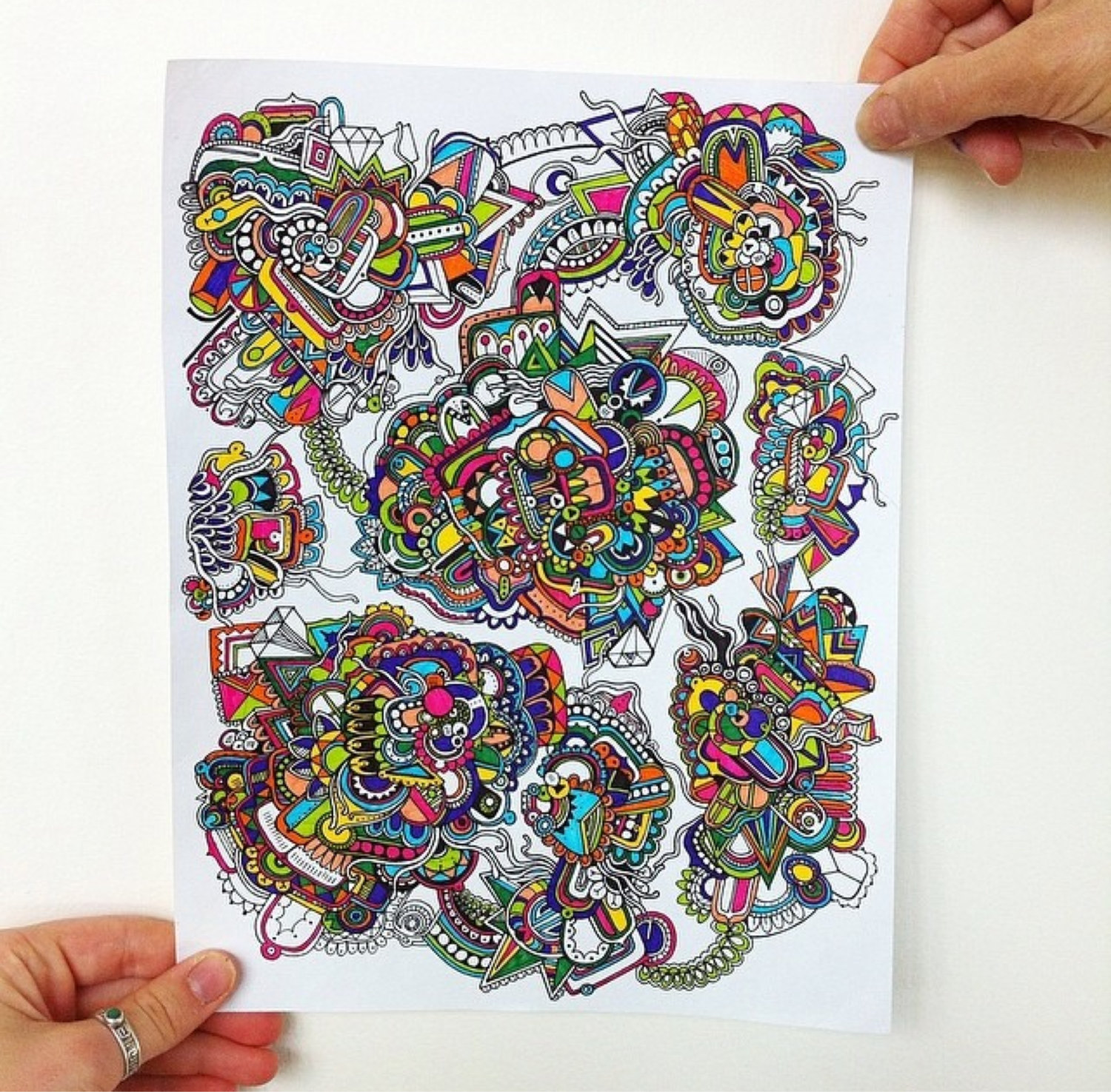 Color zentangles online - Crazy Colorful Drawing Illustration Has A Detailed And Intricate Bright Color Zentangle Design