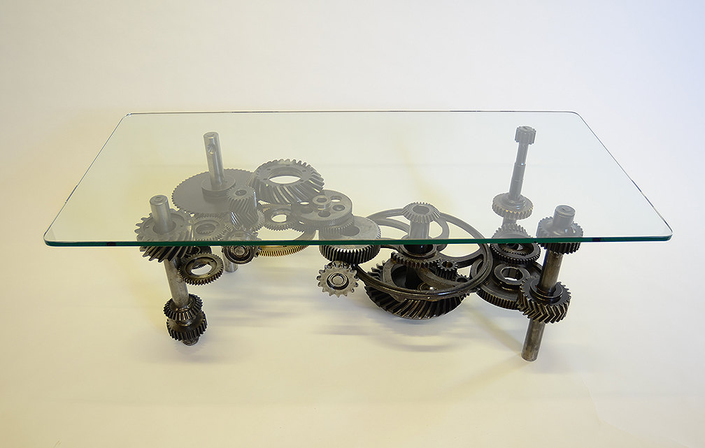 Amazing Coffee Table: Industrial Gears, Steampunk, Sculptural Table