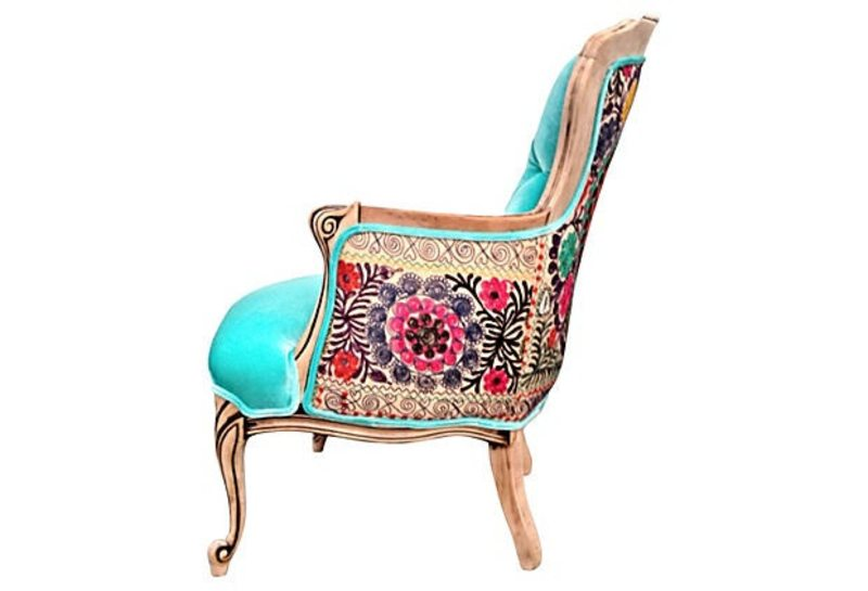 french bergere wing back chairtufted buttons accent chair aqua blue
