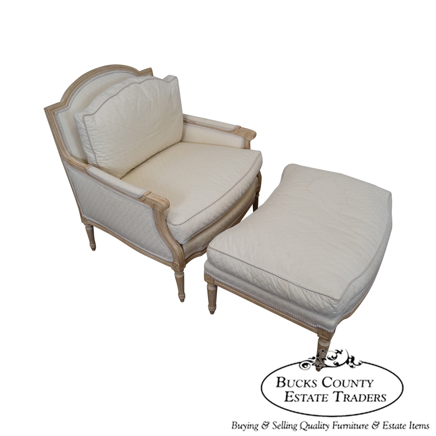 Heirloom Furniture French Louis XV Style Bergere Chaise Lounge Chair U0026  Ottoman