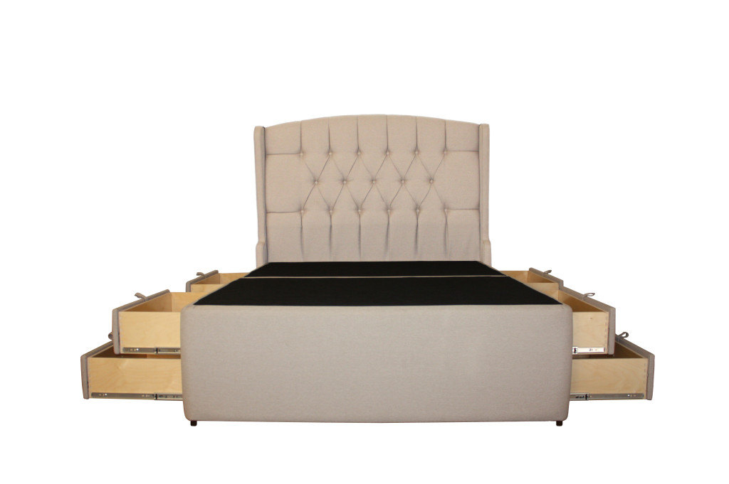 Meridian Diamond Tufted II - 8 Drawer Upholstered Storage Platform ...