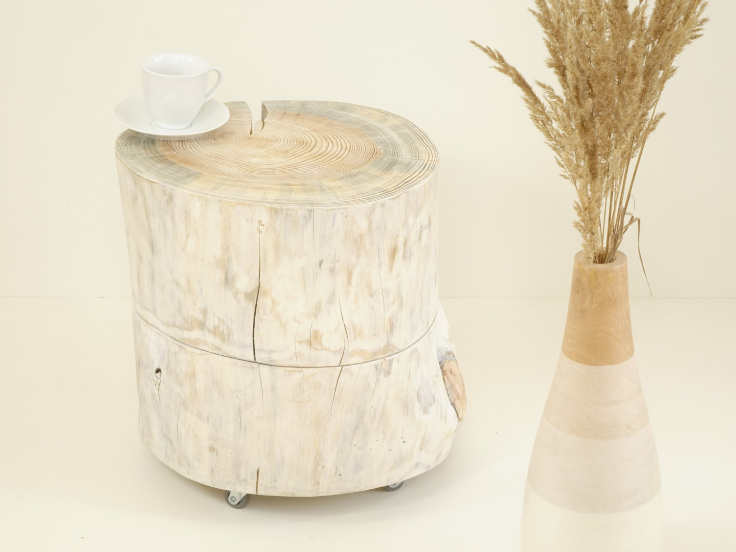 White Cocktail Table Scandinavian Style White Wooden Stump Side Table On  Rolling Casters Baumstamm Tisch Ceppo