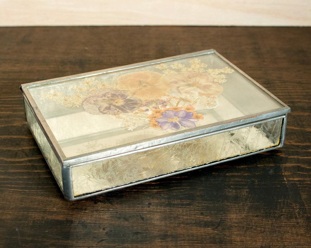 Glass Jewelry Box with Pressed Flowers Glass Box with Mirrored