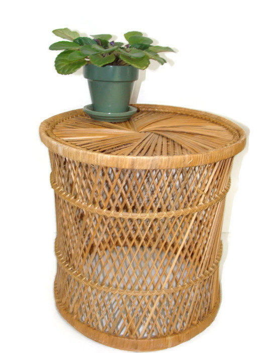 Vintage Rattan Drum Table Side Table Bohemian Home Plant Stand Wicker Round  Ottoman Coastal Beach Home
