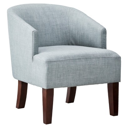 Upholstered Chair: Threshold Barrel Chair   Gray/Blue