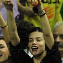 Adriana Lima Cheers At Barcelona Basketball Game