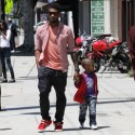 Usher Goes For A Walk With His Son
