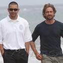 Gerard Butler Hits The Beach With Security