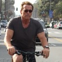 Arnold Schwarzenegger Bikes Through LA