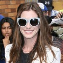 Anne Hathaway Stops By Letterman In NYC
