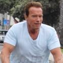 Arnold Schwarzenegger Bike Rides Through Santa Monica