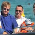 Elton John And David Furnish In Saint-Tropez With Son