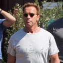 Arnold And Patrick Schwarzenegger Take A Stroll In Brentwood