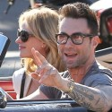 Adam Levine And Anne V Drive Around With The Top Down