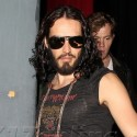 Russell Brand Looks Serious After Comedy Routine